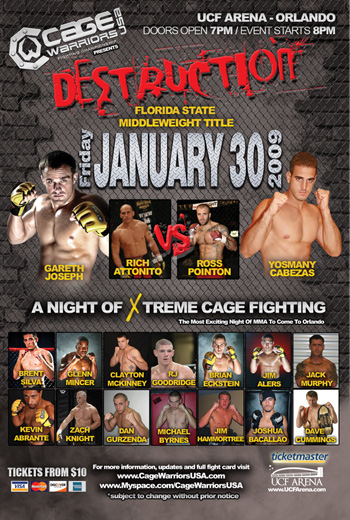 Cage Warriors Destruction:  January 30th